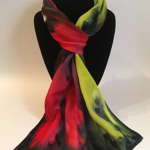 Hand Painted Silk Scarf Yellow Lime Forest Red